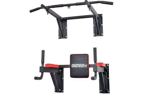 OneTwoFit Multifunctional Wall Mounted Pull Up Bar Power Tower Set