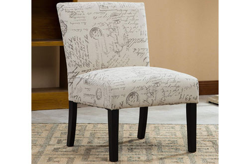 Roundhill Furniture Botticelli Fabric Armless Contemporary Accent Chair
