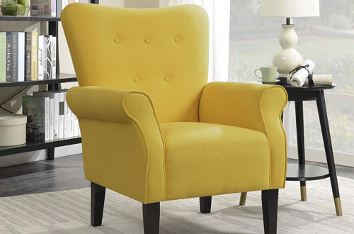 Belleze Modern Accent Chair for Living Room Bedroom with Wood Leg