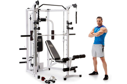 Marcy Smith Cage Machine with Workout Bench & Weight Bar Home Gym Equipment
