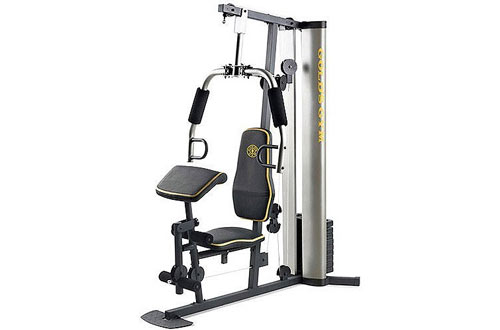 New Gold'sXR 55 Home Exercise Weight Stack, Padded Seat & Preacher Pad