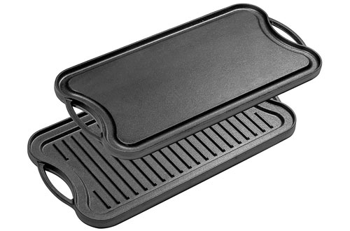 Bruntmor Pre-Seasoned Cast Iron Reversible Grill & Griddle Pan