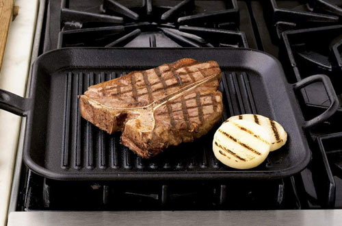 Lodge Square Cast Iron Grill Pan with Dual Handles