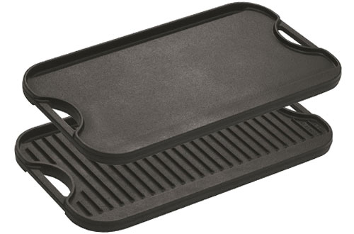 Lodge LPGI3 Pro-Grid Cast Iron Reversible Grill/Griddle Pan with Handles