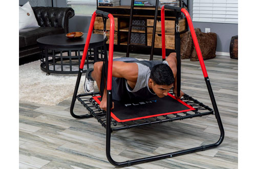 PLENY 2-in-1 Dip Station with Fitness Trampoline