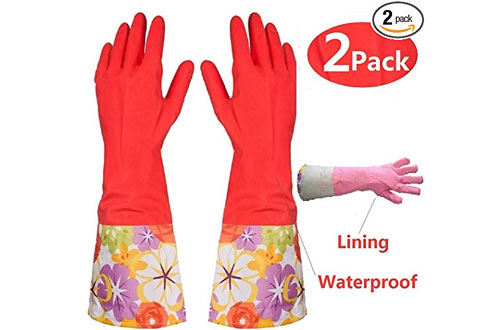 BIAJI Kitchen Waterproof Rubber Cleaning Gloves