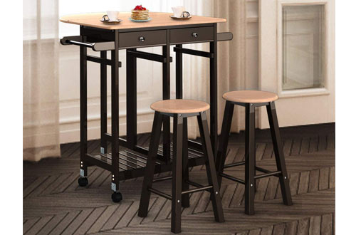 Giantex 3PCS Wood Rolling Casters Fold Drop Leaf Kitchen Table with Stools