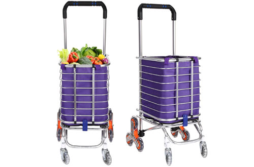 Flyerstor Folding Grocery Utility Lightweight Stair Climbing Cart with Rolling Swivel Wheels