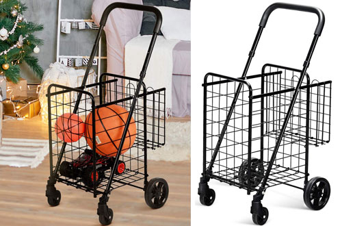 Goplus Heavy Duty Folding Shopping Cart with Swivel Wheels