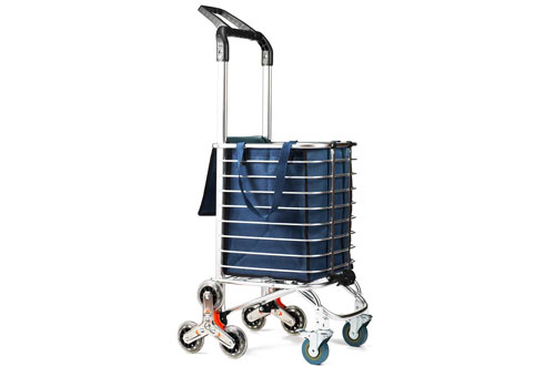 TUOMAN Portable Light Weight Shopping Cart with Triangle Crystal Wheel