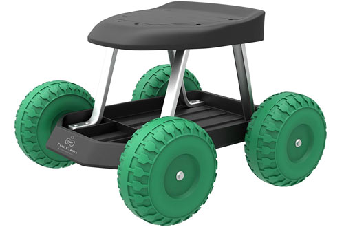 Pure Garden Cart Rolling Scooter with Seat and Tool Tray for Kids & Adults