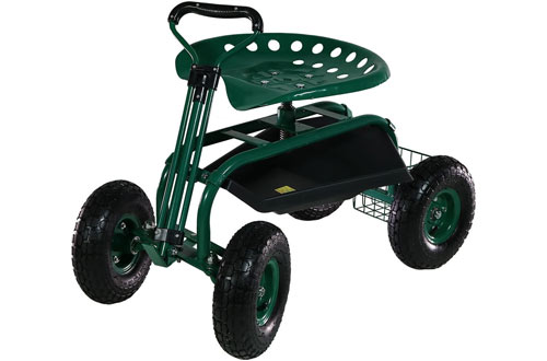 Sunnydaze Rolling Garden Scooter & Cart with Swivel Seat & Utility Basket