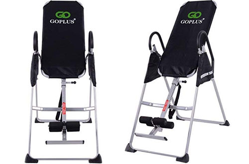 Goplus Gravity Fitness Therapy Inversion Table with Adjustable Folding Back Table