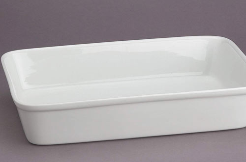 HIC Oblong Rectangular Fine White Porcelain Lasagna Pan