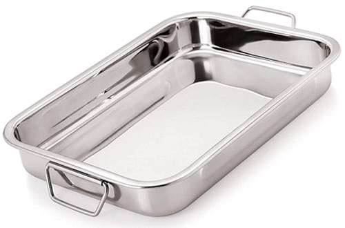 Chef Direct Rectangular Stainless Steel Lasagna Pan for Baking, Grilling & Roasting