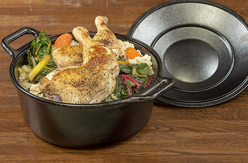 Lodge Pro-Logic Cast Iron Dutch Oven - Pre-Seasoned Pot with Lid and Handles