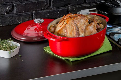 Lodge 7-Quart Oval Enameled Cast Iron Dutch Oven