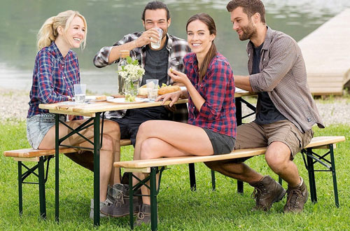 Giantex Portable Folding Wooden Picnic Beer Table for Garden Use