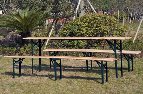 Outsunny Outdoor Folding Patio Camping Wooden Picnic Table Set with Bench