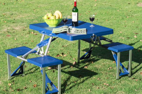 Outsunny Portable Folding Outdoor Camp Picnic Table with Umbrella