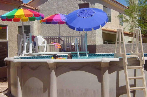 Vinyl Works A-Frame Ladder with Barrier for Swimming Pools