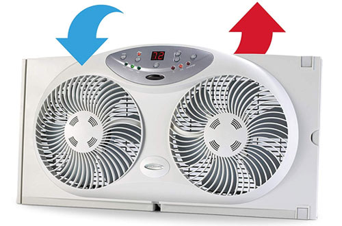 Bionaire Twin Window Fan With Remote Control and Reversible Blades