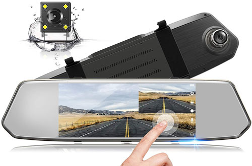 TOGUARD Backup Camera 7-Inch Mirror Dash Cam Touch Screen