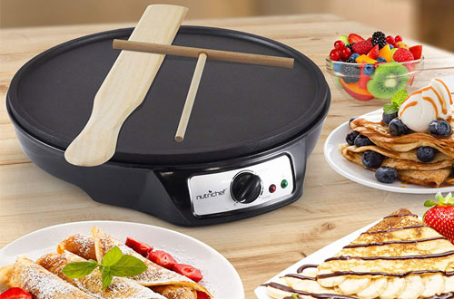 NutriChef Nonstick Electric Crepe Maker - Aluminum Griddle Hot Plate Cooktop