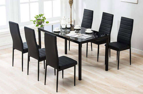 Mecor 7 Piece KitchenGlass Top Table with Chair Breakfast Furniture