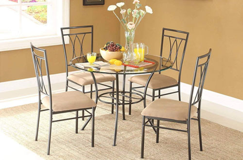 MSS Round Glass and Metal Dining Table Set and 4 Chairs