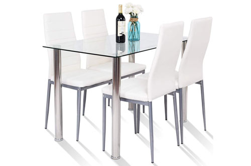 TangkulaModern Tempered Glass Top forDining Table Set