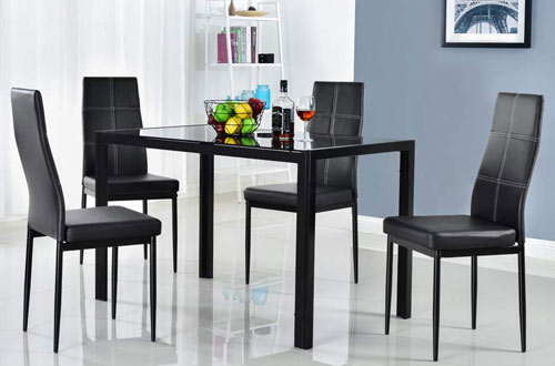 Bonnlo KitchenGlass Dining Table and Chairs Set for 4 Person