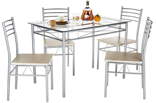 VECELO Tempered GlassDining Table with 4 Chair