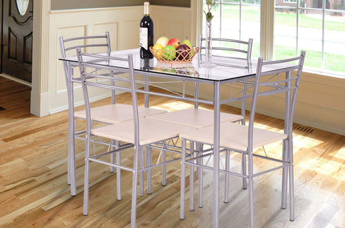 GiantexKitchen Breakfast FurnitureDining Set Table and Chairs Glass Top