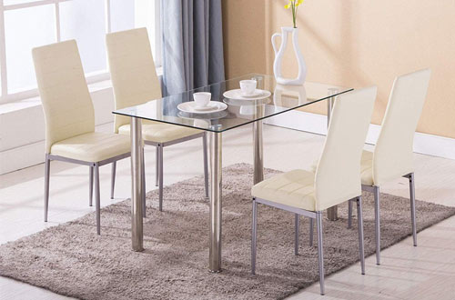 RectangularGlass Table Set with Leather Chairs & Metal Legs