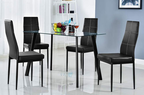 Bonnlo 5 Pieces Modern Glass Top Dining Table Set for Kitchen