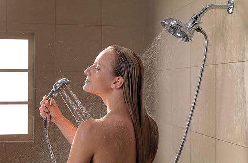 Delta FaucetDual Hand Held Shower Head with Hose and Magnetic Docking