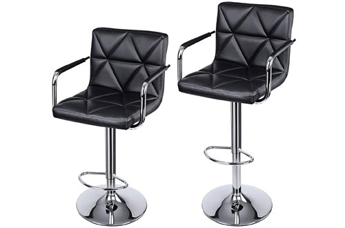 SONGMICS Adjustable Swivel Bar Stool Chairs with Arms & Back