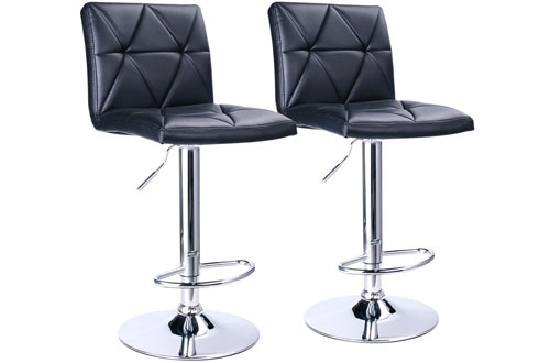 Leader Accessories Modern Black Adjustable Bar Stools with Back