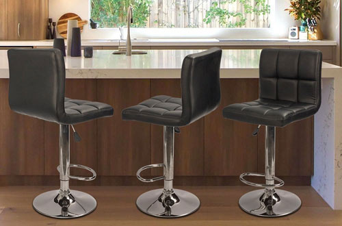 Homall Kitchen PU Leather Adjustable Swivel Bar Stools with Back