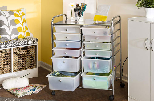 Honey-Can-Do Rolling Storage Cart & Organizer with Plastic Drawers