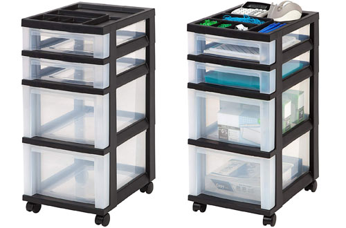 IRIS 4-Drawer Rolling Storage Bin with Organizer Top