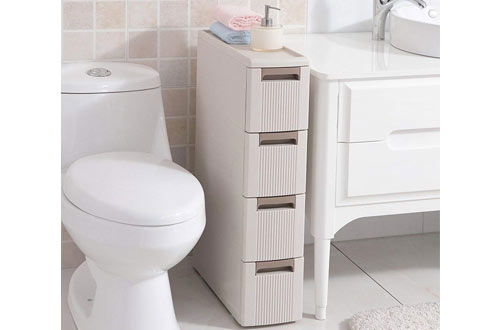 Boby 4-Storage Plastic Drawer Organizer Cabinet on Wheels for Bathroom