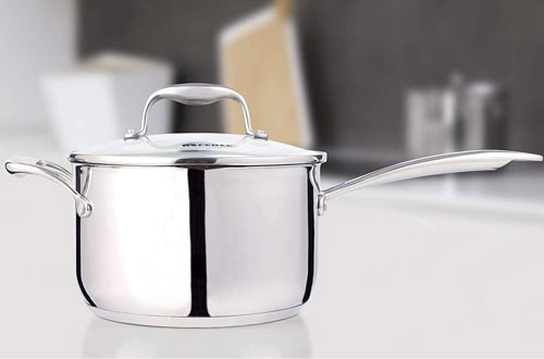Rorence 3.7 Quart Stainless Steel pan with Pour Spout & Glass Lid with Strainer