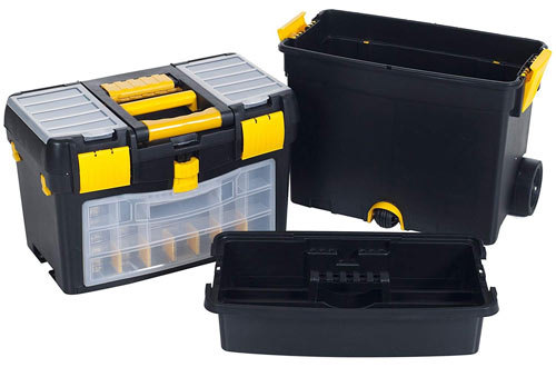 Heavy Duty Upright Rolling Toolbox Organizer - Chest & Cabinet Storage Box
