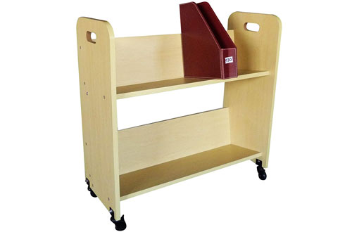 FixtureDisplays Wood Library Book Cart