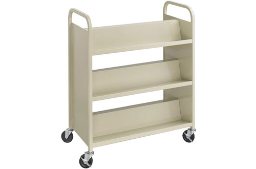 Safco Products Steel Double-Sided Book Cart with Shelves