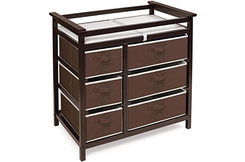 Badger BasketModern Baby Changing Table with Storage Baskets and Pad