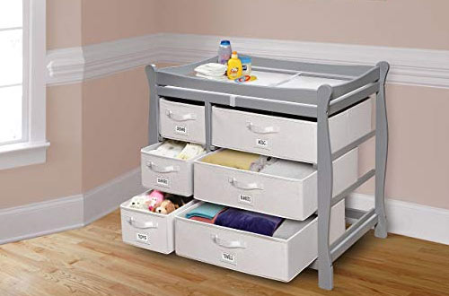 Sleigh Style Baby Changing Table with Storage Baskets and Pad