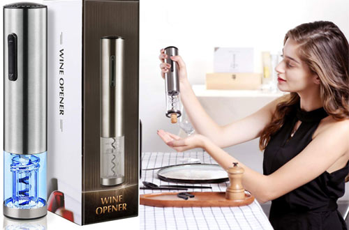 HOME&STYLE Rechargeable Cordless Stainless Steel Wine Opener